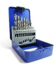 S&R Metallbohrer Set 1-10mm 118°,19 Stk,GM-Serie DIN 338,geschliffen, HSS-Stahl, Metallbox,Profi-Qualität