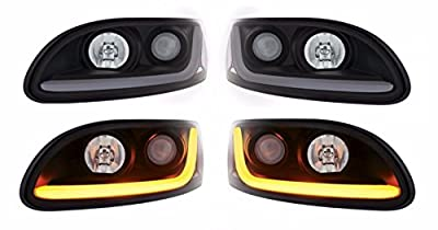 CPW (tm) 2000-2015 Peterbilt 386 387 Projector Headlights With Dual Function LED Bar - New Pair