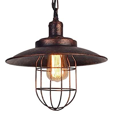 Kiven Vintage Style Pendant Light 1-Light Iron Cage Hanging Lighting For Restaurant Hotel (Bulbs Not Included)