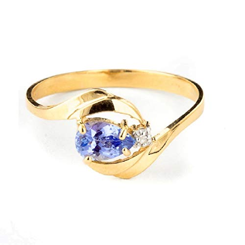 Galaxy Gold 14k Solid Yellow Gold Ring with Natural Diamond and Pear-Shaped Tanzanite - Size 7.5 ()
