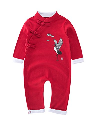 May's Baby Toddler Chinese traditional dish buckle design Romper Onesie Outfit