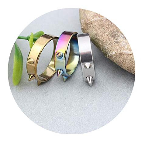 Stainless Steel 3 Colors Defensive Rings Punk Spike Rivet Cone Coyotes Hip Pop Ring for ()