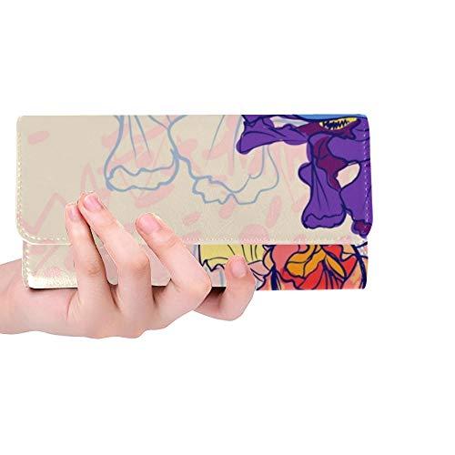 Unique Custom Purple Iris Flower Spring Romantic Hand-painted Art Embroidery Women Trifold Wallet Long Purse Credit Card Holder Case Handbag