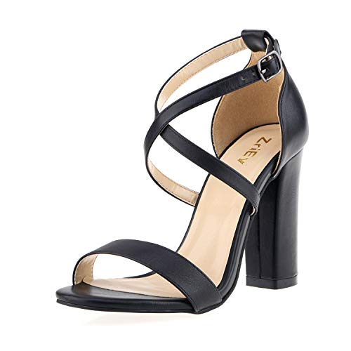 ZriEy Women's Chunky Block Heeled Sandals Cross Strappy High Heels Open Toe Sexy Sandals Party Wedding Shoes Black Size 6 ()