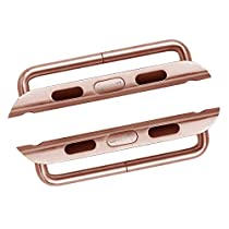 LUVVITT Stainless Steel Adapter for Apple Watch 38mm Band Connector, Apple Watch Buckle, Apple Watch Clasp, Comparable to Click - 38mm Rose Gold