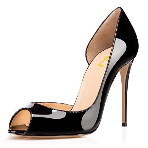 Fsj Mujeres Sexy Dorsay Stiletto Bombas De Tacón Alto Peep Toe Charol Slip On Zapatos Tamaño 4-15 Us Negro