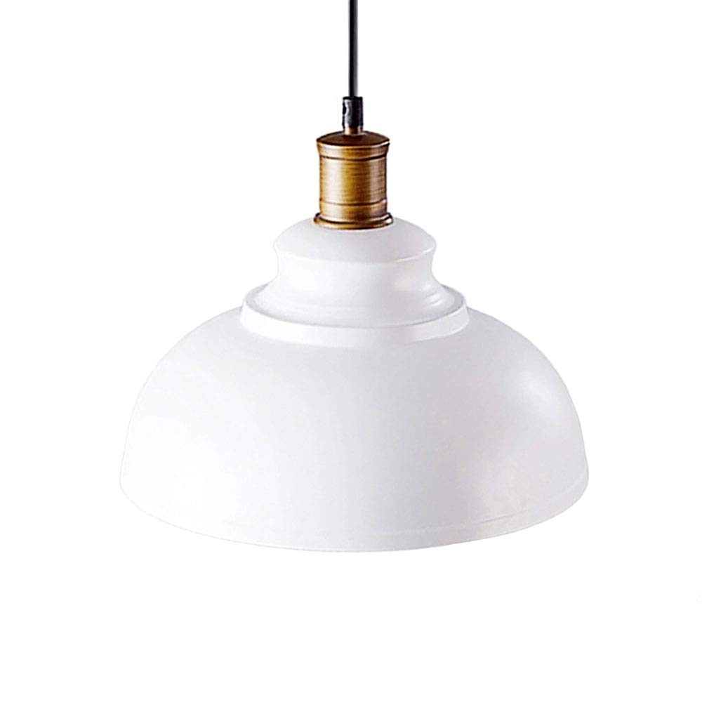OYI Industrial Nautical Barn Dome Pendant Light, Single Pendant Lamp Frosted Bowl Shade Ceiling Light Fixture (White)