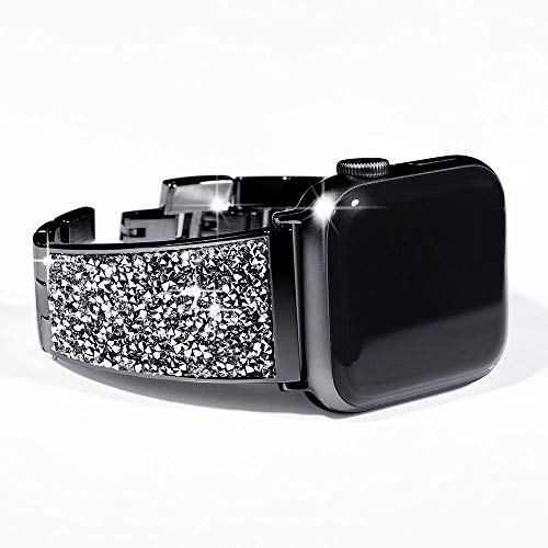 KADES Stainless Steel iWatch Band Compatible for Apple Watch Series 4 44mm& Series 1/2/3 42mm with Swarovski Crystals 6.1