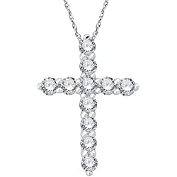 IGI Certified 14K Gold Cross Diamond Pendant Necklace (1/2 Carat)