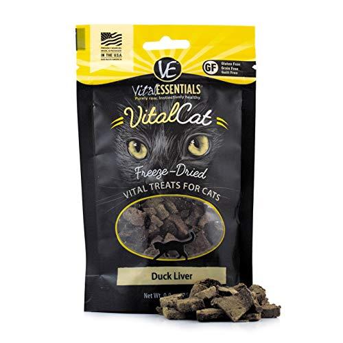 Vital Essentials 3552 Vital Cat Freeze-Dried Duck Liver Grain Free Limited Ingredient Cat Treats .9 oz - Treat Catnip Liver