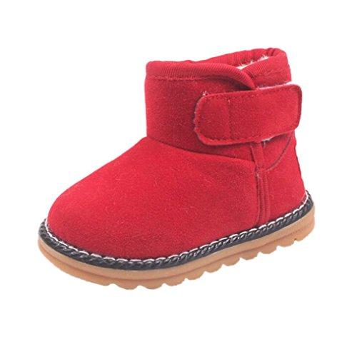 Zapatos de Niños Niños Niñas de piel, Koly botas invierno gruesa de nieve (21_cm, Red) rojo