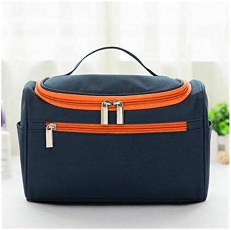 YouNITE プロフェッショナルラージコスメティックバッグ女性旅行ハンドルメークアップ必需オーガナイザージッパーソリッドカラーのメイクアップケーストイレタリーキットバッグ (Color : Deep Blue)