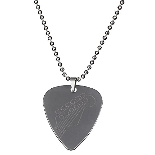 Silver Stainless Steel Guitar Picks Necklace Pick Pendant Love Heart Ball chain 6 different patterns (Style B) (Guitar Bead)