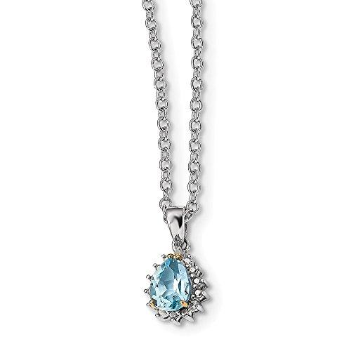 Sterling Silver & 14K Sky Blue Topaz & Diamond Necklace