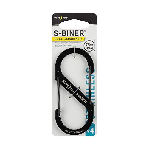 Nite Ize Size-4 S-Biner Dual Carabiner, Stainless-Steel, Black ()
