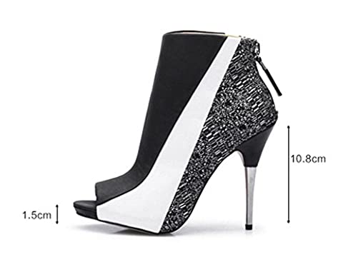 Katypeny Women's Zipper Closed Open Toe Cover Heel Ankle Sandals White/Black PU/Cloth 9 US M