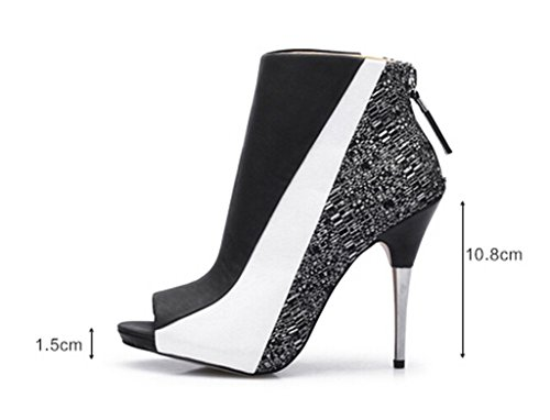 Katypeny Women's Zipper Closed Open Toe Cover Heel Ankle Sandals White/Black PU/Cloth 9 US M (Black And White Booties)