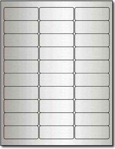 """2 5/8"""" x 1"""" Silver Foil Address Labels for Laser Printers - 300 Labels"""