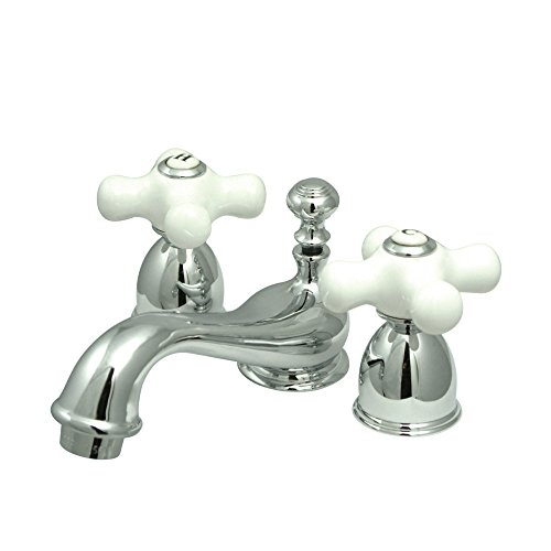 Elements of Design ES3951PX Widespread Lavatory Faucet With Porcelain Cross Handle Mini Polished Chrome
