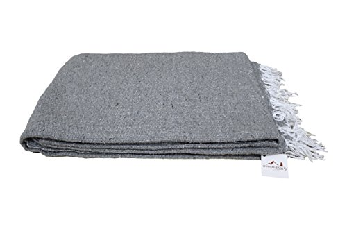 Handmade Grey Yoga Blanket — Thick Mexican Blanket or Throw — Made for Yoga!