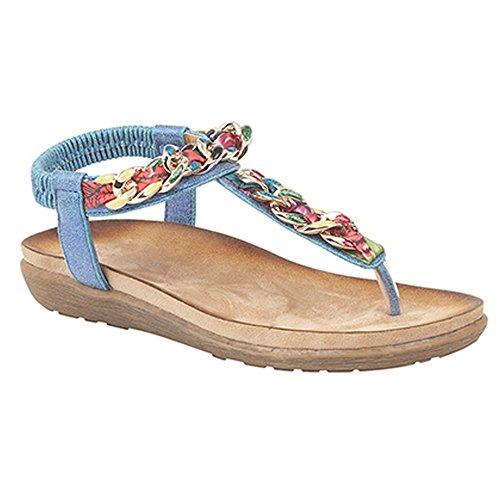 Post Ladies Elasticated Womens Boulevard Red Toe Metallic Jewel Sandals wq4XP