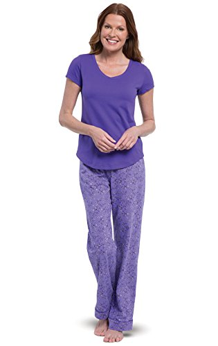 PajamaGram Woman Pajamas Soft Cotton - Purple Pajamas for Women, Purple, XL, 16 (Womens Short Sleeve Pajamas Xl)