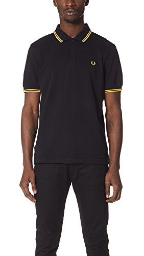 Fred Perry Gingham Shirt - Fred Perry Men's Twin Tipped Polo Shirt-M3600, Black/Yellow/Yellow, Medium