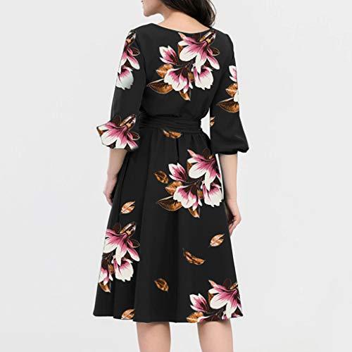 Keliay Dress for Women Summer, A-Line Women Elegant O-Neck Half Sleeve Pocket Sashes Knee-Length Casual Dress