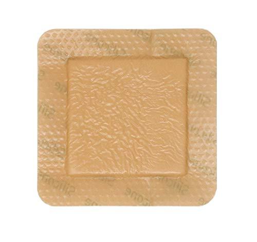 Medical Grade Premium MedSupply Silicone Bordered Foam Dressing. (4'' x 4'') Box of 10