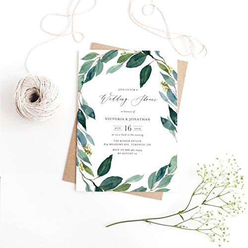 Dozili Wedding Shower Watercolor Eucalyptus Wreath Wedding Shower Invitation Greenery Invitation