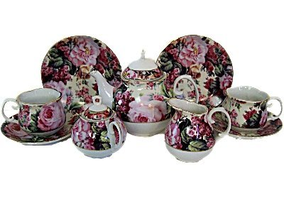 English Pattern Children's Tea for 2 Fine China Tea Set from The Queen's Treasures
