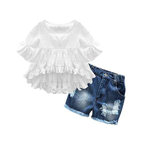 Lankey Girl Clothes Little Kids Short Sets Cotton Casual Coat Jeans 2 Pcs Pants Sets (6-7T) -