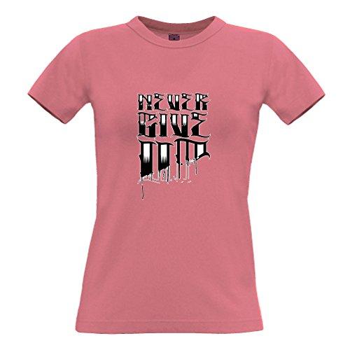 Slogan design Never Give Up Loser Tatuaggio Fine stop Quit Stampato T-Shirt Da Donna