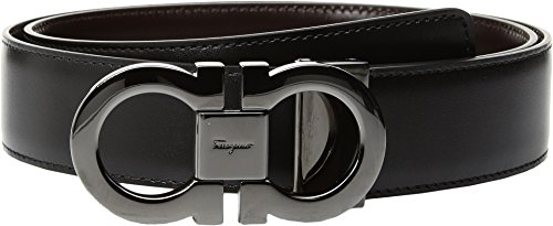 Salvatore Ferragamo Men's Double Gancini Reversible Belt, Black/Auburn, 38 (Reversible Double Gancini Calfskin Leather Belt Salvatore Ferragamo)