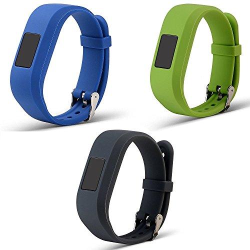 ECSEM Large Replacement Bands and Straps for Garmin Vivofit JR & Vivofit JR.2 & Vivofit 3, [fits 5.5~8.5 inch Wrists] for 5 Years Kids or Older Children, Dark Blue/Lime/Grey