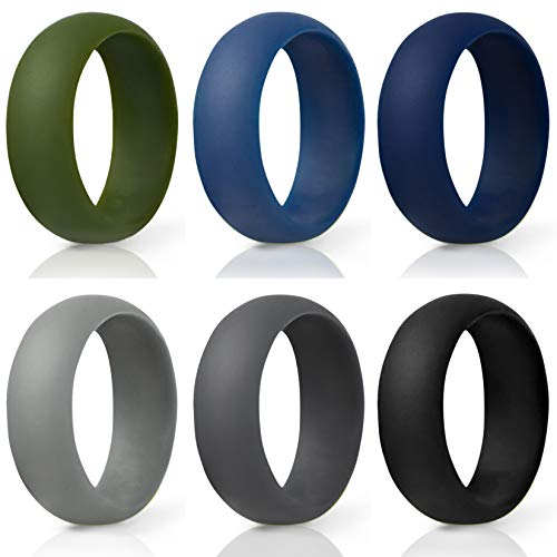 (MEATFLY. Silicone Wedding Rings for Men, 6 Pack Silicone Rubber Wedding Bands, Soft Safety Sports Workout Rings (Colorful, Size 11))