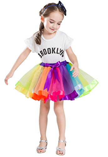 Buenos Ninos Girl's Lined Colorful Layered Ruffle Rainbow Tutu Tiered Ballet Dance Skirt Multicolored - Children's Rainbow Tutu