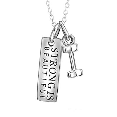 """Dream Rover Sterling Silver Bodybuilding Charm Dumbbell Pendant Necklace for Women18"""""""