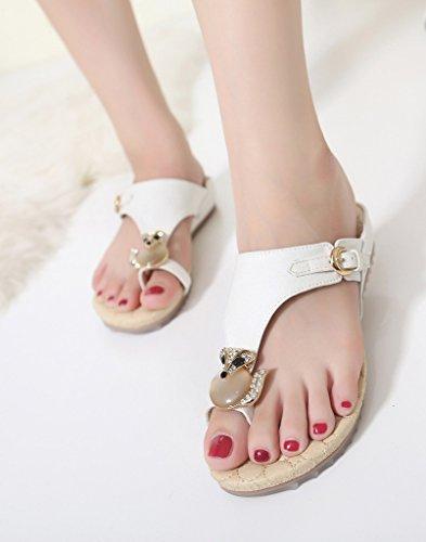 Fortuning's JDS® Women Rhinestone Studded Fox Toe Ring Sandal Flat Slipper White nTI4b