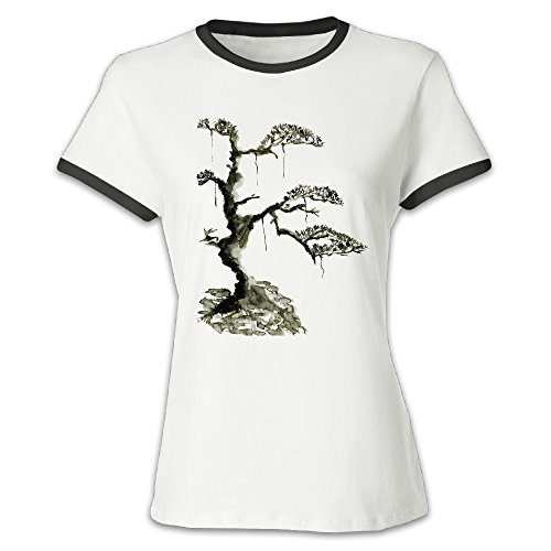 Color blocking Graphic Tees Pine Chinese Style T-shirt For Lady