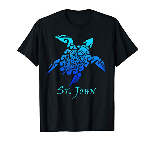- St. John Tribal Turtle Polynesian Tattoo Style Vacation  T-Shirt