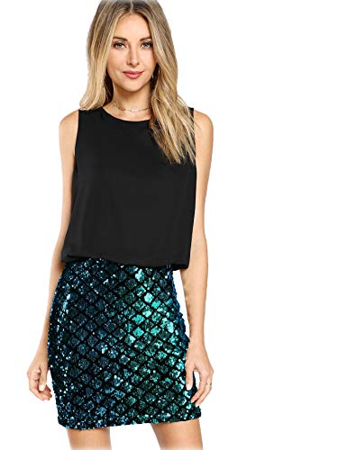 Romwe Women's Sexy Layered Look Fashion Club Wear Party Sparkle Sequin Tank Dress Black -