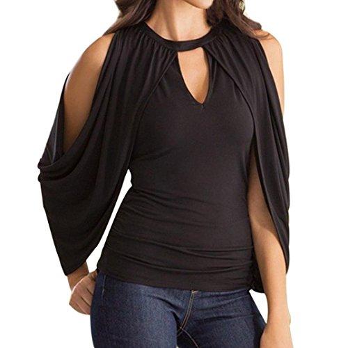 Casual Pullover con Nero Elegante ABCone Maniche V Camicette a Tasca Shirt Scollo Camicie Felpe Donna Tops T Lunghe Autunno SnqwAqgf