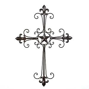 Nuevo De pared De hierro De Cruz Lone Star Fleur De Lis
