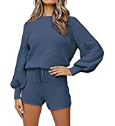 ROYLAMP Women's Casual Knit Sweater Outfits Long Puff Sleeve 2 Piece shorts Pullover Sweatsuit Set