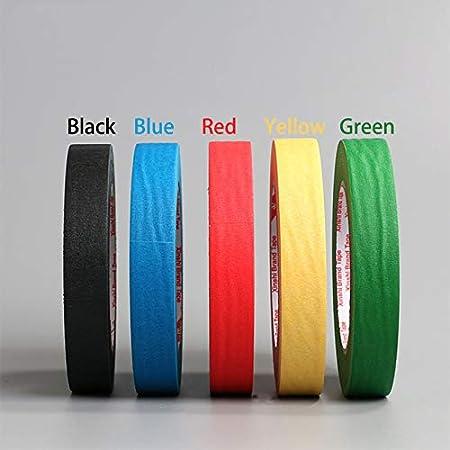 RiccoDi Ruban de masquage color/é Rouge//noir//bleu//vert//jaune 5 mm x 50 m noir