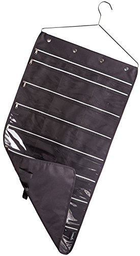 Misslo 22 Pockets 20 Hooks Oxford Hanging Jewelry Organizer with Zipper Hanger (Pockets & Hooks Black)