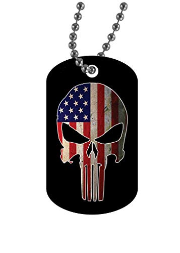 - Rogue River Tactical USA American Flag Skull Dog Tag Pendant Jewelry Necklace Military Gift Veteran