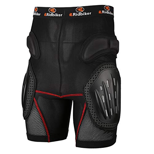 RIDBIKER Aluminum Alloy Armor Pants Skating Protective Snowboarding Mountain Bike Cycling Motocross Skiing Protect Shorts,XL (Best Snowboard Protective Shorts)