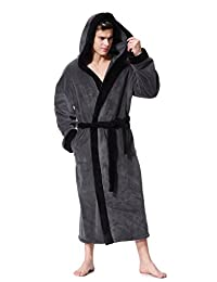OUFANG Men's Hooded Bathrobe in 2 Colored Soft Spa Kimono Shawl Collar Hooded Long Robe Unisex